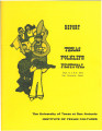 Report - Texas Folklife Festival, August 6-9, 1973