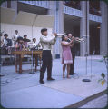 Musicians performing in concert outside pavilion of Republic of Mexico at HemisFair'68