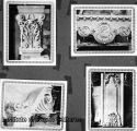 Album page with snapshots of models for cast stone architectural ornaments
