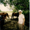 Joe W. Benavides visiting ranch where he lived as a child, Buena Vista, Bexar County, Texas, 1994