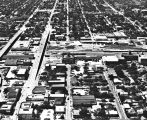 Aerial view of Missouri-Pacific Railroad Station and surrounding neighborhood, San Antonio, Texas,...
