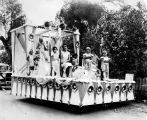 Royalty on parade float, Del Rio, Texas, 1920s