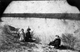 Susan and William Negley and son beside lake, Las Farias Ranch, Maverick County, Texas, 1888