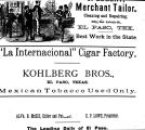 "Advertisement for ""La Internacional"" Cigar Factory in El Paso, Texas"