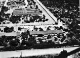 Aerial view of the southwest corner of the Crystal City Internment Camp, Crystal City, Texas,...