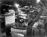Aerial view, looking south, southeast towards the Medical Arts Building, the Alamo, and Alamo...