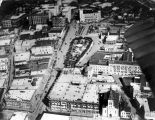 Aerial view of Dullnig Building, Joske Brothers Department Store, and St. Joseph's Catholic...