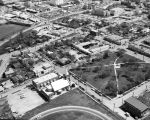 Aerial view of St. Francisco di Paola Church and Columbus Park, San Antonio, Texas, March 1968