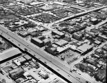 Aerial view of intersection of Interstates 35/10 and W. Commerce Street, San Antonio, Texas, March...