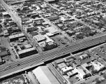 Aerial view of intersection of W. Commerce Street and Interstates 10/35, San Antonio, Texas, March...