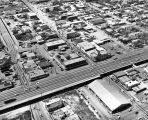 Aerial view of Buena Vista and  W. Commerce Streets at Interstates 10/35, San Antonio, Texas,...