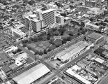 Aerial view of Santa Rosa Medical Center, Milam Park, and Municipal Market, San Antonio, Texas,...