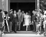 President and Mrs. Lyndon B. Johnson exit Confluence Theater at U.S. Pavilion during the president's Fourth of July...