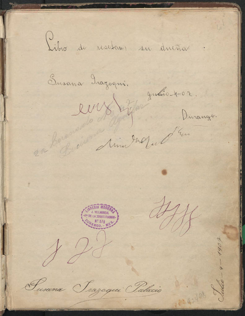 Title page for book 1 of 20th century Mexican cooking manuscripts