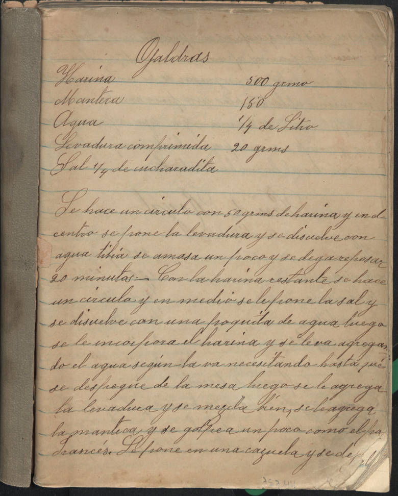 First page of notebook