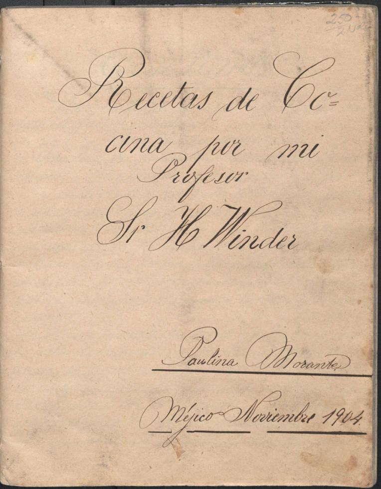 Title page of Recetas de cocina por mi profesor Sr. H. Winder