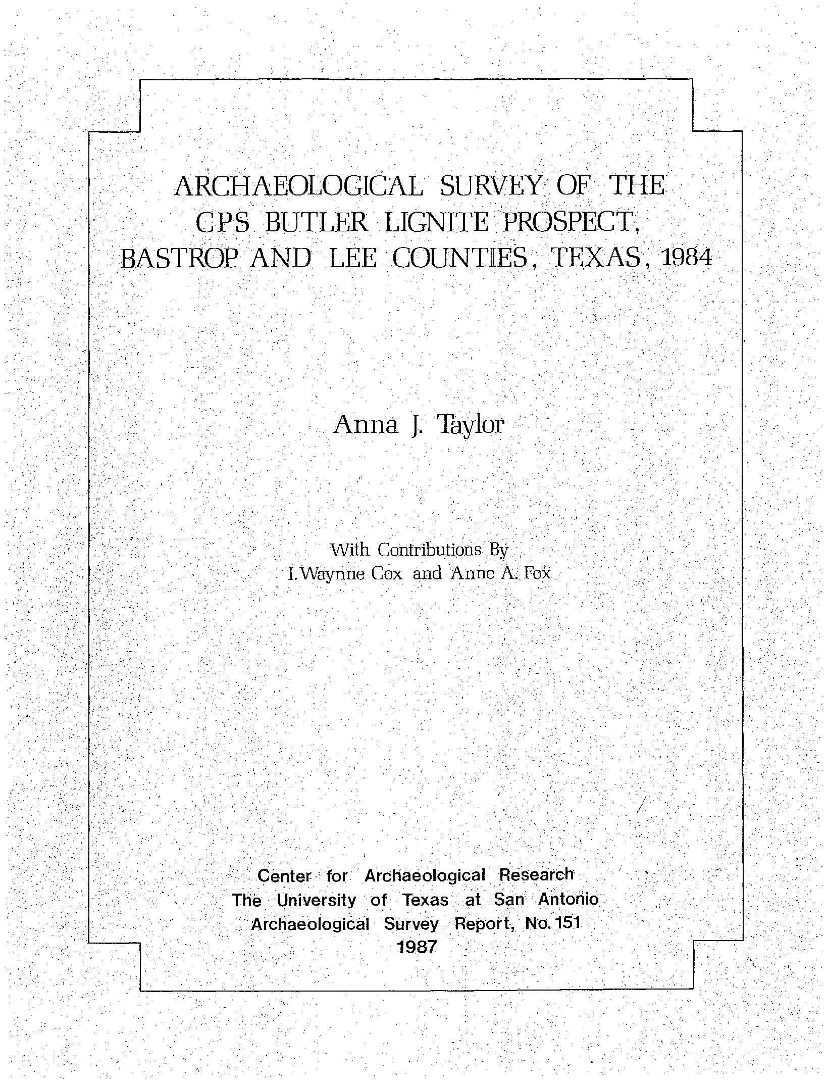 Page 1 - Center for Archaeological Research - UTSA Digital